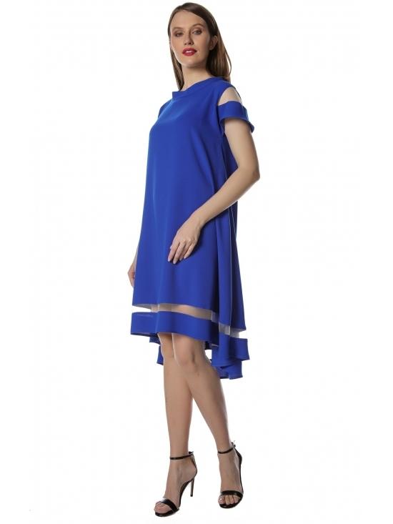 Rochie Queen albastra – asimetrica, cu aplicatie tull, crep fluid  soft-touch #2