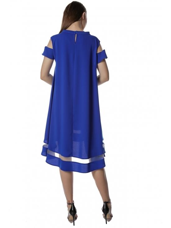 Rochie Queen albastra – asimetrica, cu aplicatie tull, crep fluid  soft-touch #3