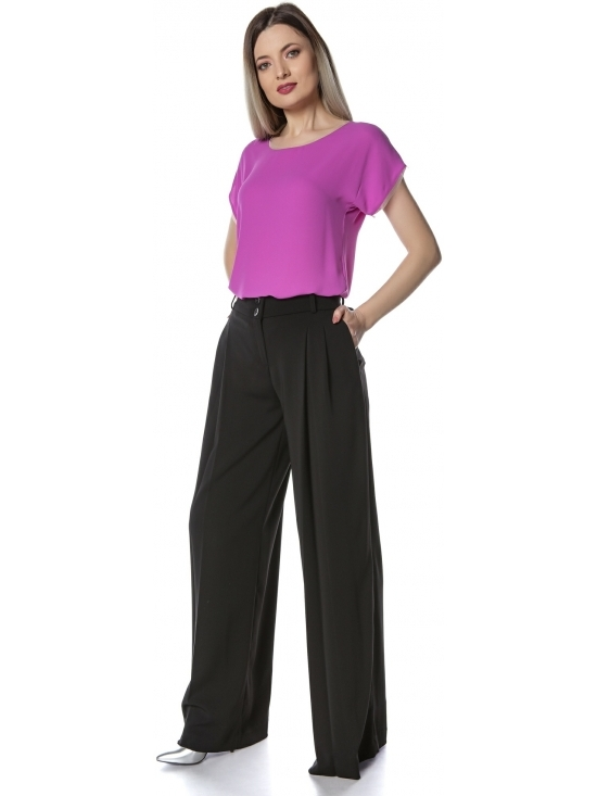 Pantalon Boemia negru evazat cu pliuri #2