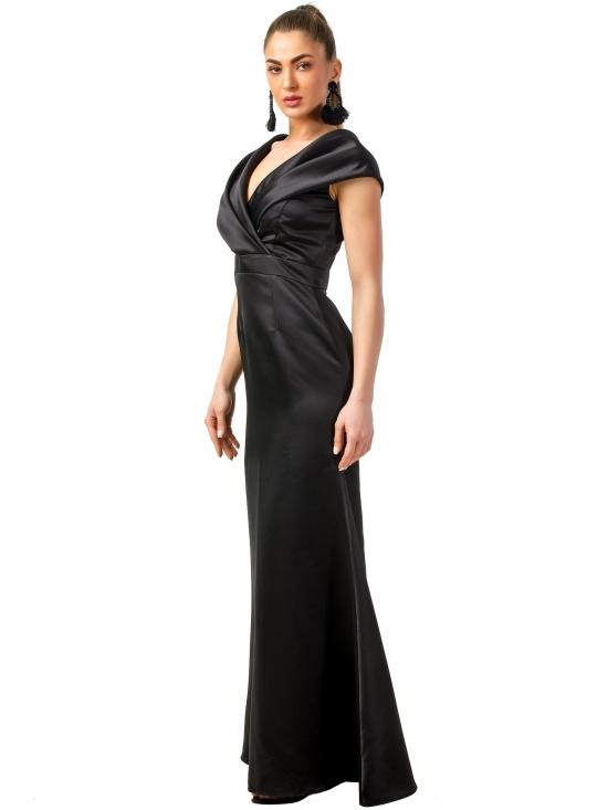 Rochie Beretta neagra din taft satinata #2
