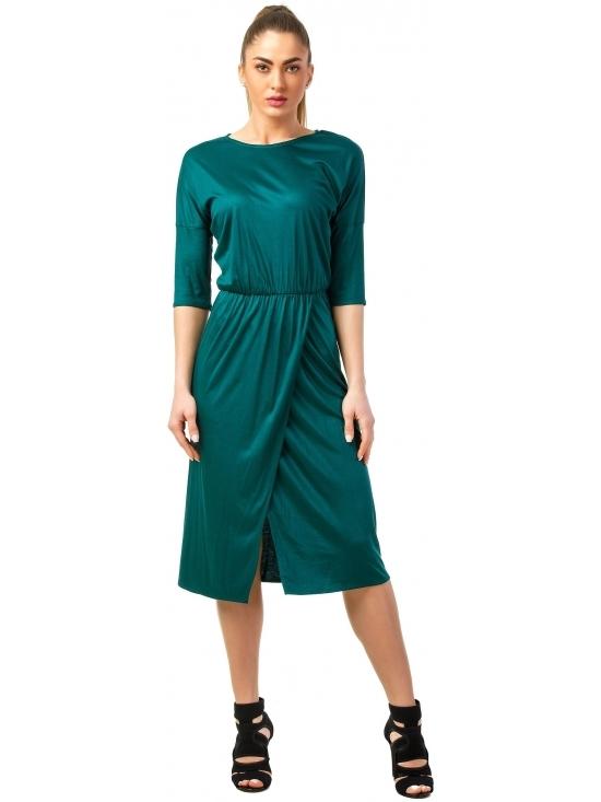 Rochie Sarina verde din jerse vascoza 100% parte peste parte