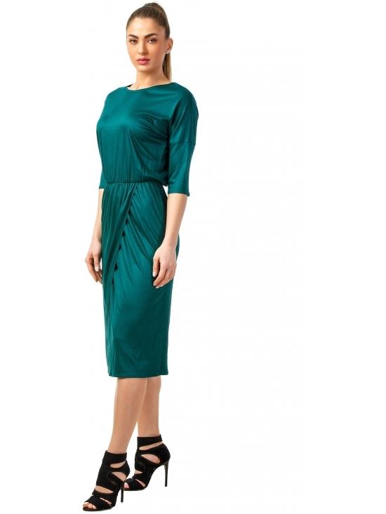 Rochie Sarina verde din jerse vascoza 100% parte peste parte #2