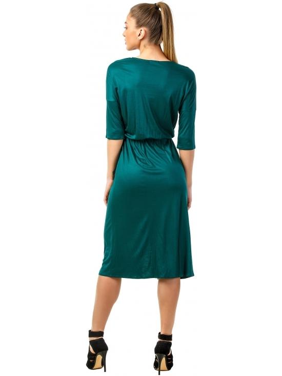 Rochie Sarina verde din jerse vascoza 100% parte peste parte #3