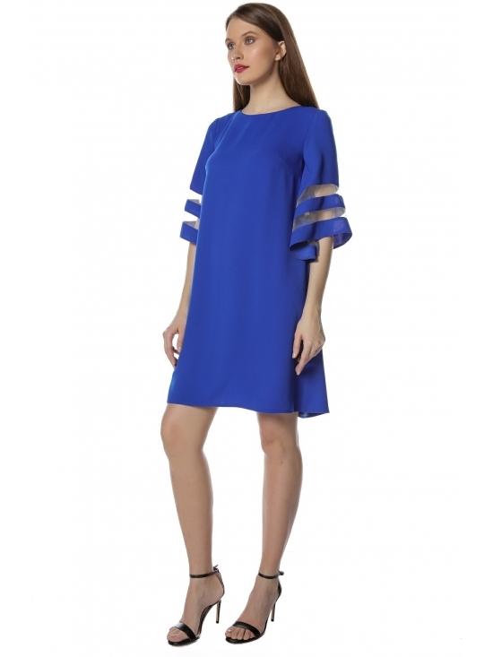 Rochie Angela albastra cu maneca ¾ insertie tull #2