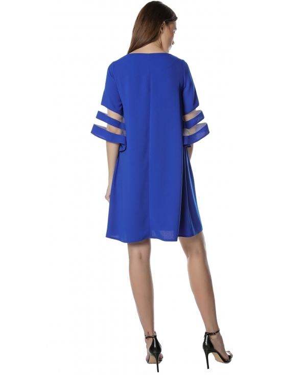 Rochie Angela albastra cu maneca ¾ insertie tull #3