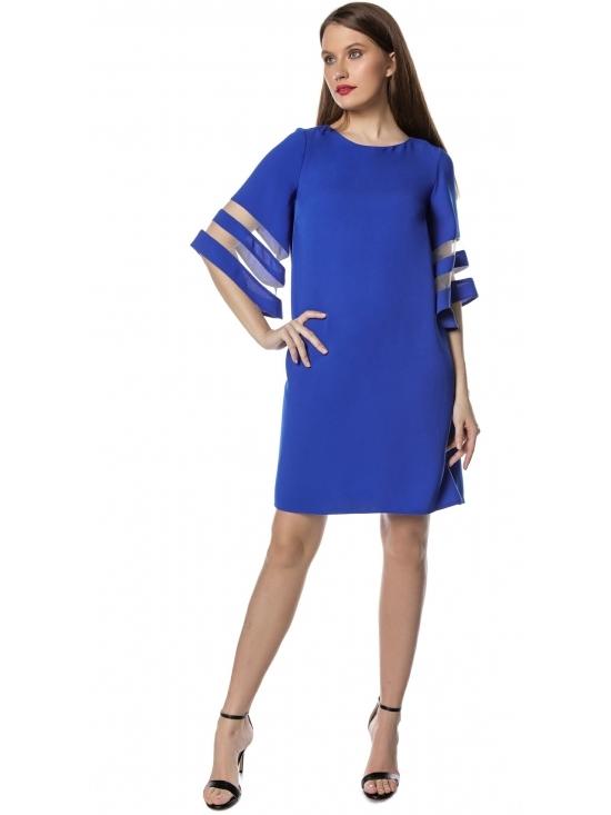 Rochie Angela albastra cu maneca ¾ insertie tull