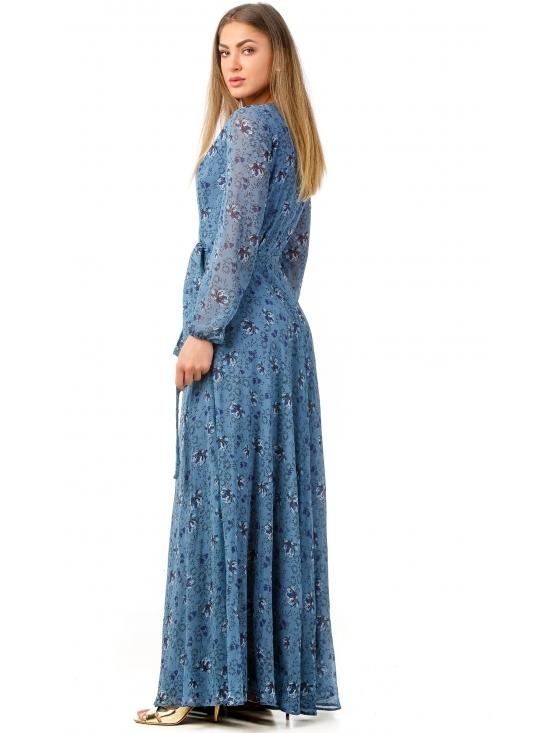 Rochie Ligia albastra din voal imprimat #2
