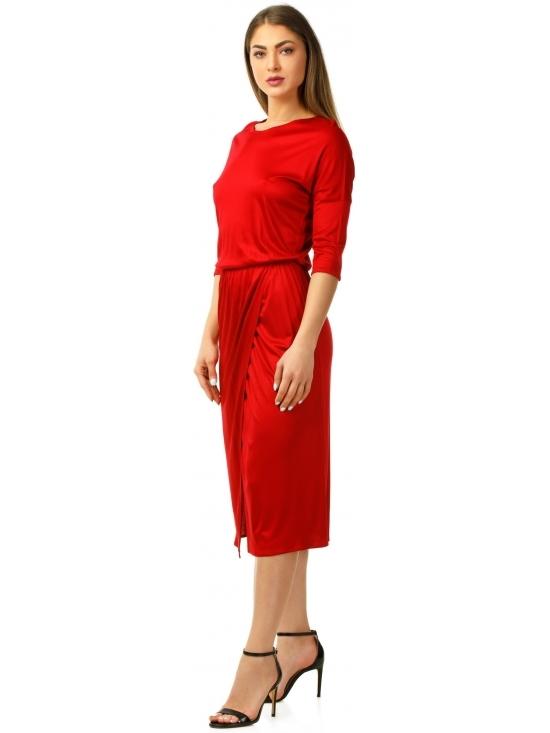 Rochie Sarina rosie din jerse vascoza 100% parte peste parte #2
