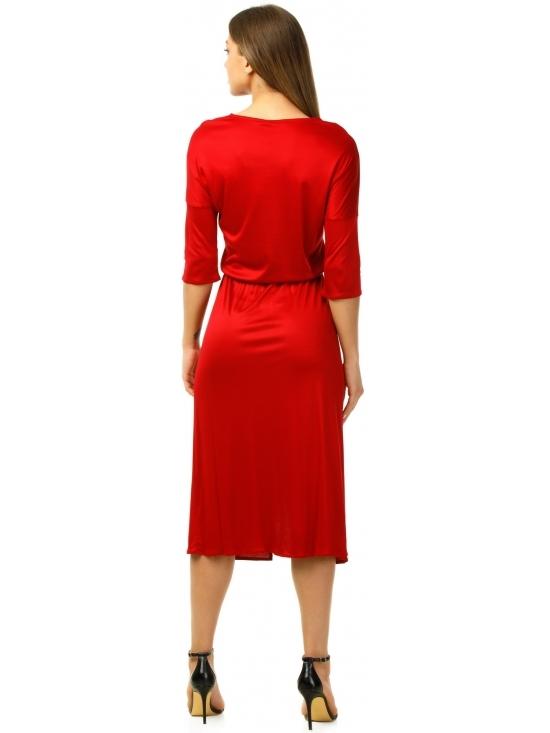 Rochie Sarina rosie din jerse vascoza 100% parte peste parte #3