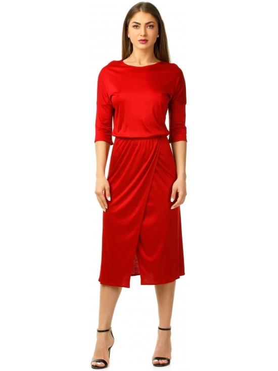 Rochie Sarina rosie din jerse vascoza 100% parte peste parte
