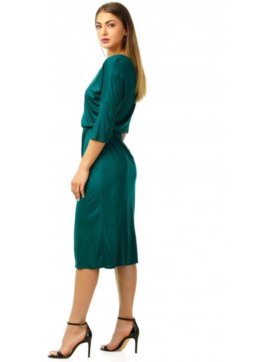 Rochie Sarina verde inchis din jerse vascoza 100% parte peste parte #2