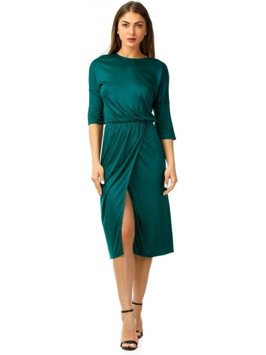 Rochie Sarina verde inchis din jerse vascoza 100% parte peste parte