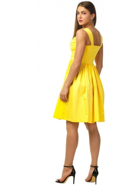 Rochie Farah din bumbac satinat galben #2