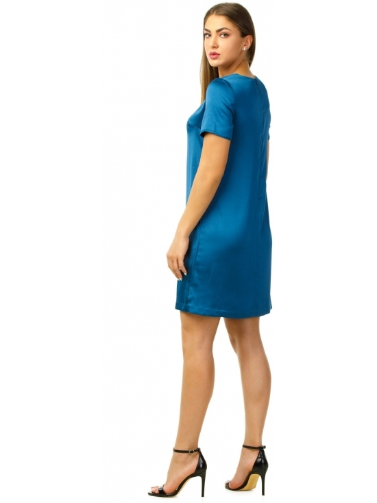 Rochie Urbana albastra din satin gros fluid #2