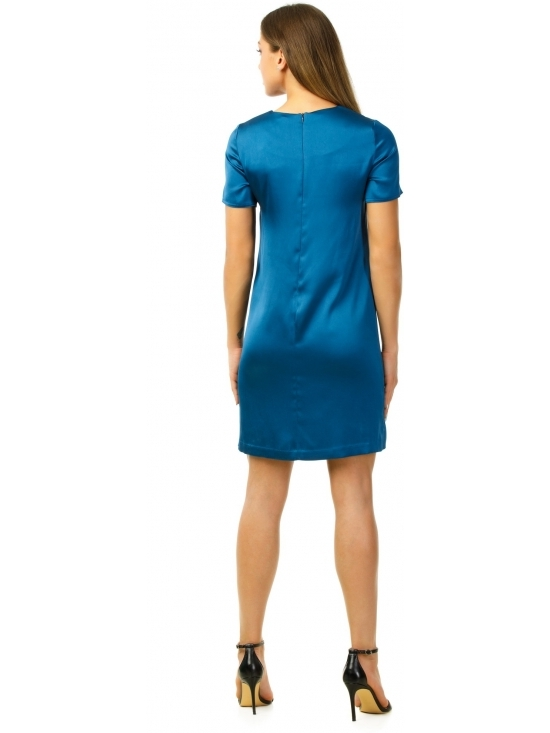 Rochie Urbana albastra din satin gros fluid #3