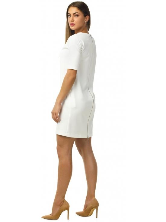 Rochie America din jacquard alb texturat #2