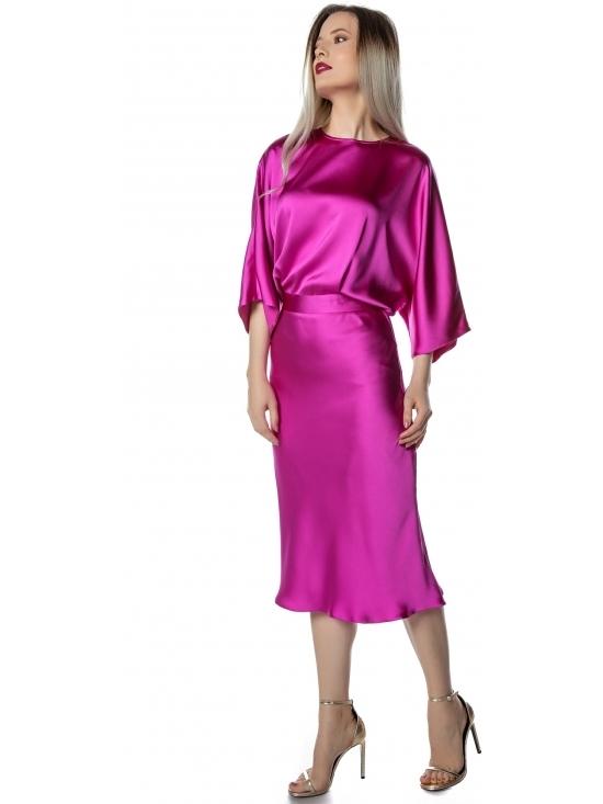 Rochie Edina roz satin cu cadere grea, fluida #2