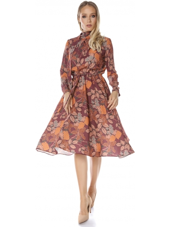 Rochie Alira cu esarfa imprimata floral #2