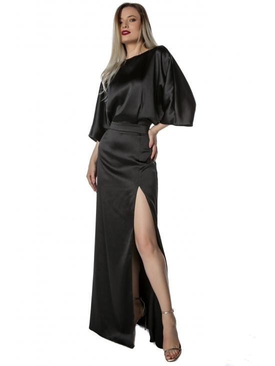 Rochie Irisa neagra lunga din satin cu cadere grea, fluida #2