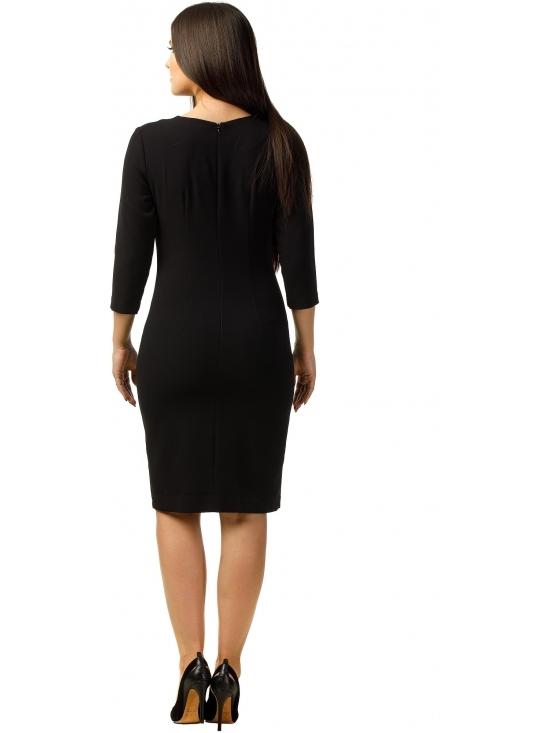 Rochie Otilia din stofa texturata neagra #3
