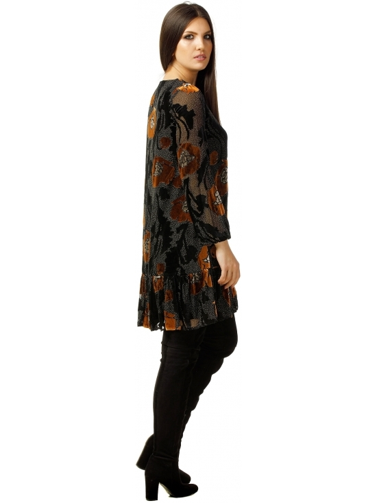 Rochie Leggera neagra cu flori maron din catifea brodata #3