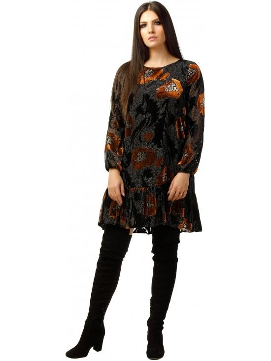 Rochie Leggera neagra cu flori maron din catifea brodata