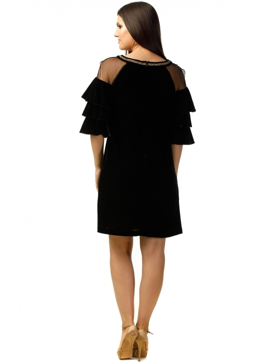 Rochie Marisa neagra din catifea #4
