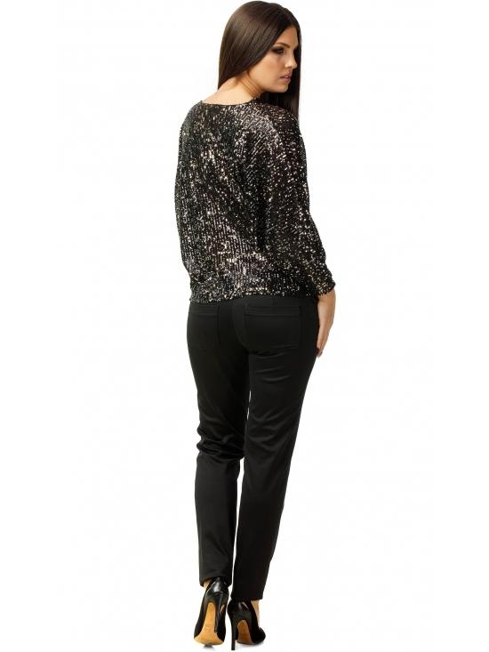 Bluza Party cu maneca lunga din paiete negre #4