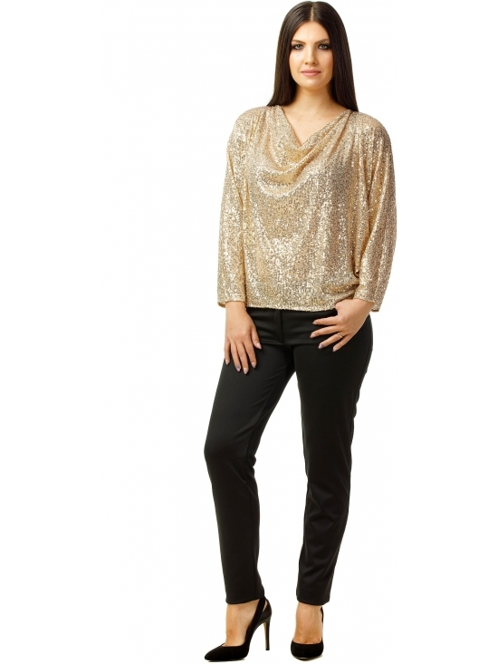 Bluza Party cu maneca lunga din paiete aurii #2