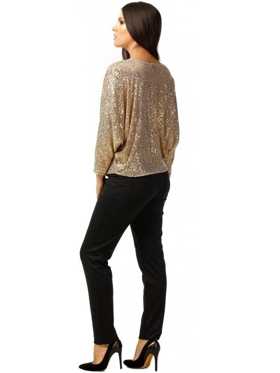 Bluza Party cu maneca lunga din paiete aurii #3