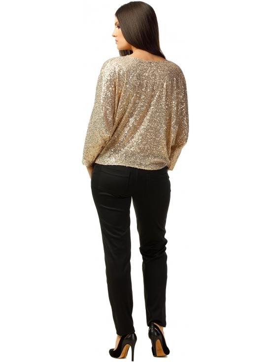 Bluza Party cu maneca lunga din paiete aurii #4