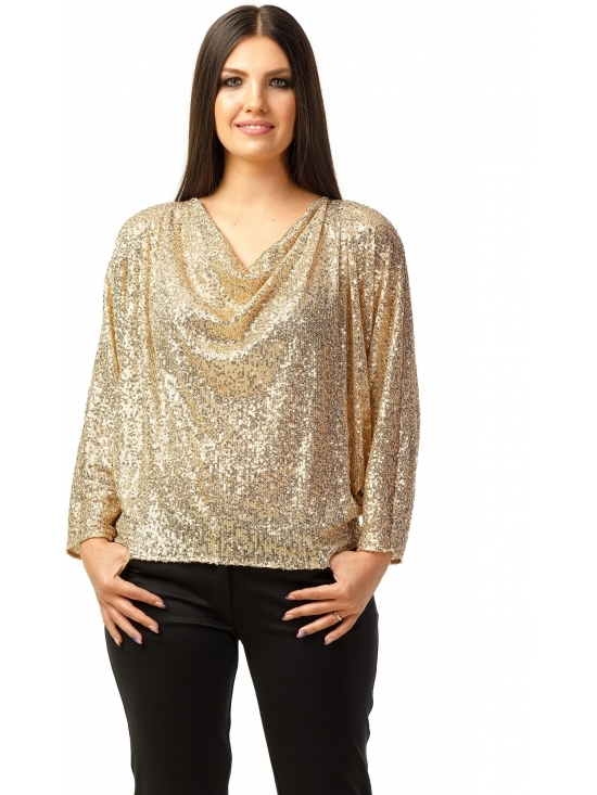 Bluza Party cu maneca lunga din paiete aurii