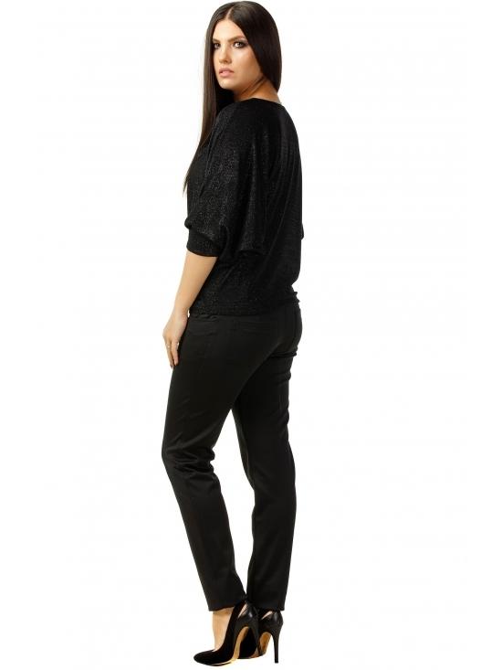 Bluza Party cu maneca lunga din lurex negru uni #2