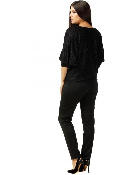 Bluza Party cu maneca lunga din lurex negru uni #3
