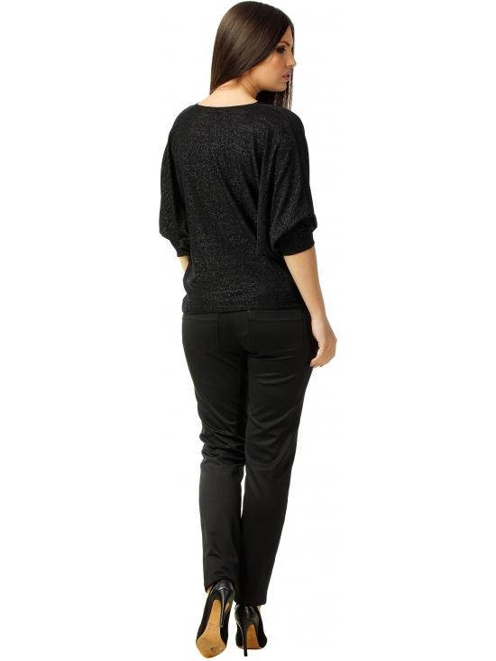 Bluza Party cu maneca lunga din lurex negru uni #4