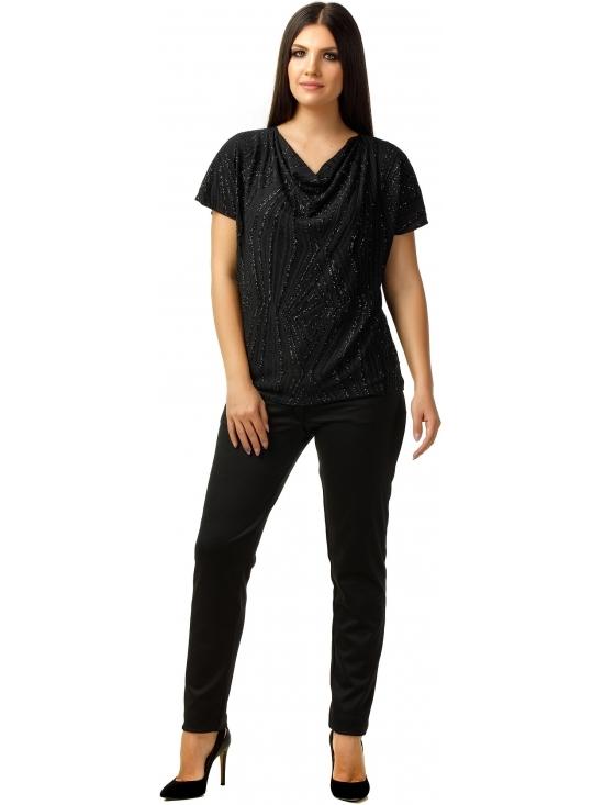 Bluza Party cu maneca scurta din lurex negru cu romburi #2