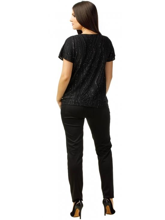 Bluza Party cu maneca scurta din lurex negru cu romburi #3