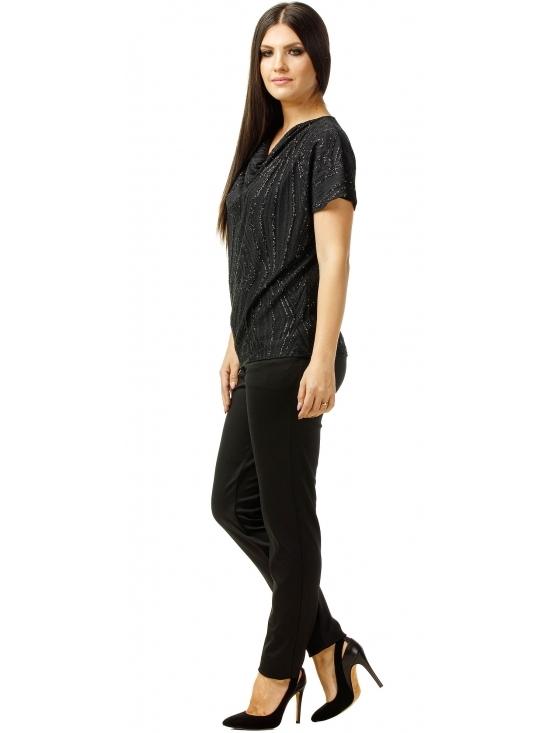 Bluza Party cu maneca scurta din lurex negru cu romburi #4