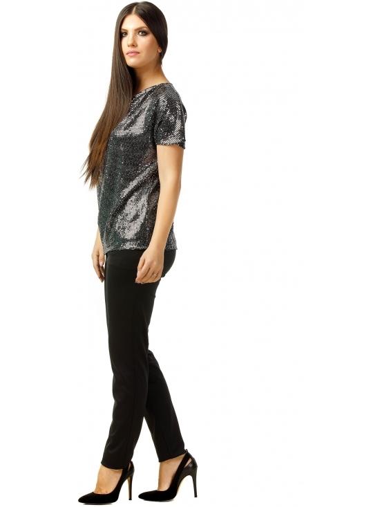 Bluza Party cu maneca scurta din lurex negru cu efect oglinda argintiu #3