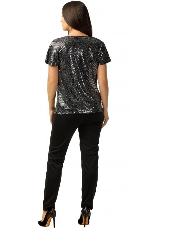 Bluza Party cu maneca scurta din lurex negru cu efect oglinda argintiu #4