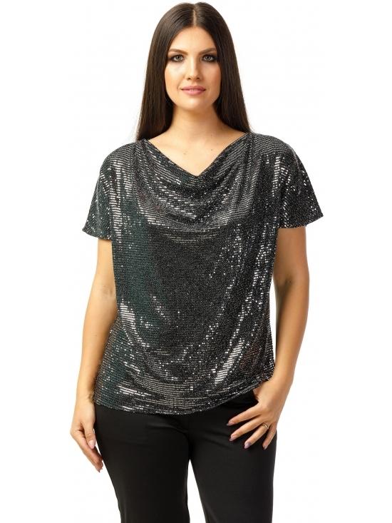 Bluza Party cu maneca scurta din lurex negru cu efect oglinda argintiu