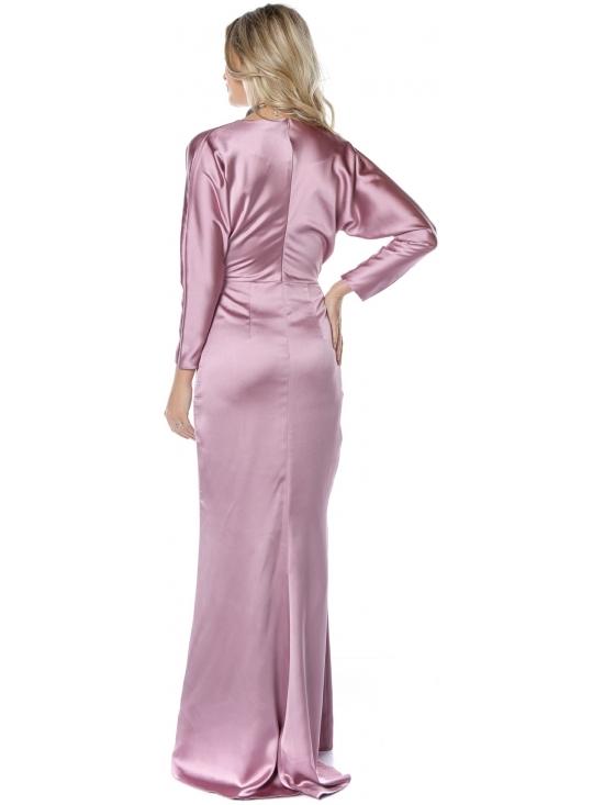 Rochie Mariola roz din satin cu cadere #4