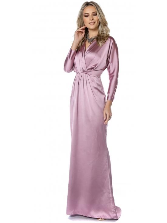 Rochie Mariola roz din satin cu cadere