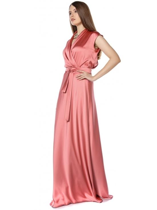 Rochie Brenna roz din satin cu cadere #2