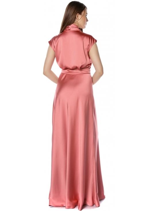 Rochie Brenna roz din satin cu cadere #3