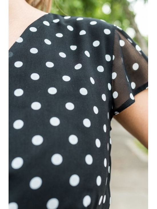 Rochie Lilette neagra din voal cu buline #4