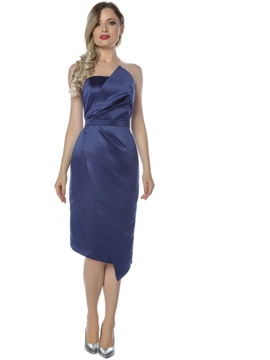 Rochie Elegance bleumarin midi din tafta satinata