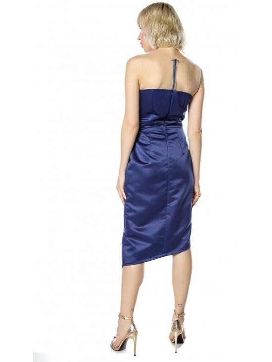 Rochie Elegance bleumarin midi din tafta satinata #4