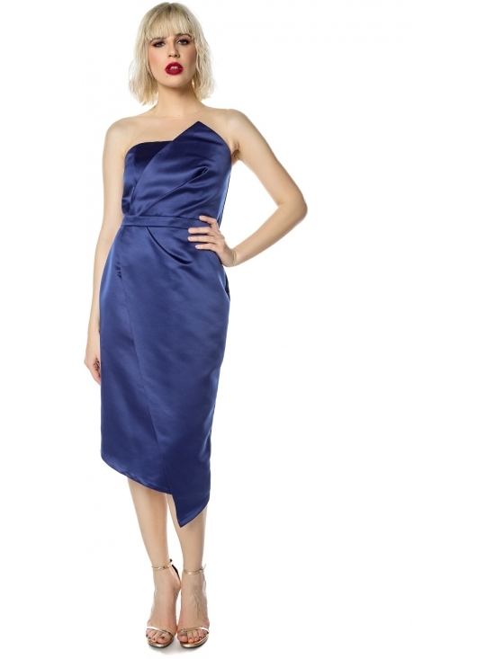 Rochie Elegance bleumarin midi din tafta satinata #2