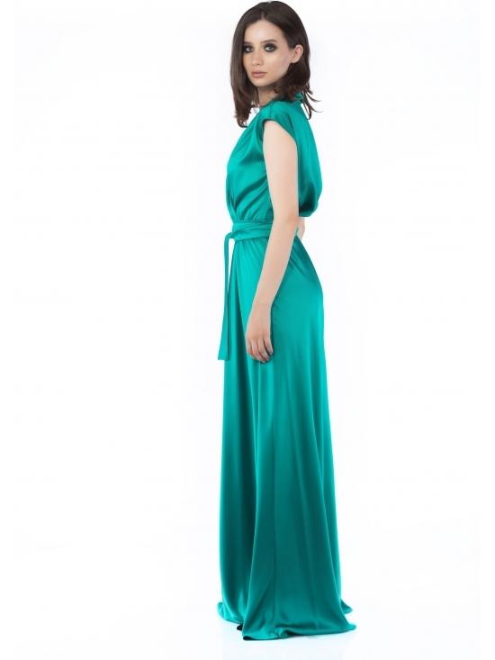 Rochie Brenna verde din satin cu cadere #2